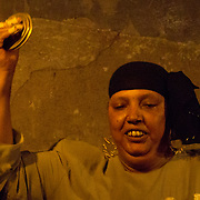 Mazaher cymbals player at Makan in Downtown Cairo, Egypt.