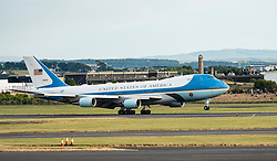 Prestwick Airport, Scotland, UK. 13 July, 2018. President Donald Trump arrives on Air Force One at Prestwick Airport in Ayrshire ahead of a weekend at his golf resort at Trump Turnberry where he is expected to play golf.