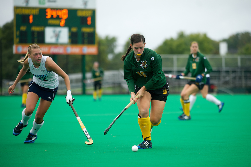 Catamounts midfielder Sally Snickenberger (16) in action during the women's field hockey game between the Maine Black Bears and the Vermont Catamounts at Moulton/Winder Field on Saturday afternoon September 29, 2012 in Burlington, Vermont.