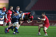 Ryan Elias of the Scarlets is hauled down by Josh Turnbull of Cardiff Blues.  Guinness Pro14 rugby match, Scarlets v Cardiff Blues  at the Parc y Scarlets in Llanelli, West Wales on Saturday 28th October 2017.<br /> pic by  Andrew Orchard, Andrew Orchard sports photography.