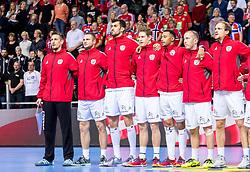 12.05.2017, Zatika Sport Centre, Porec, CRO, EHF EM, Herren, Österreich vs Frankreich, Gruppe B, im Bild v.l. Thomas Bauer (AUT), Vytautas Ziura (AUT), Janko Bozovic (AUT), Sebastian Frimmel (AUT), Julian Ranftl (AUT), Robert Weber (AUT), Gerald Zeiner (AUT) // during the preliminary round, group B match of the EHF men's Handball European Championship between Austria and France at the Zatika Sport Centre in Porec, Croatia on 2017/05/12. EXPA Pictures © 2018, PhotoCredit: EXPA/ Sebastian Pucher