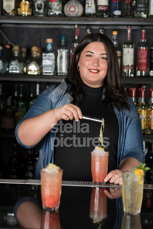 Jenny Willing mixes a Jughead Swizzle rum cocktail at The Curtain, Shoreditch<br /> Picture by Daniel Hambury/Stella Pictures Ltd 07813022858<br /> 24/07/2017