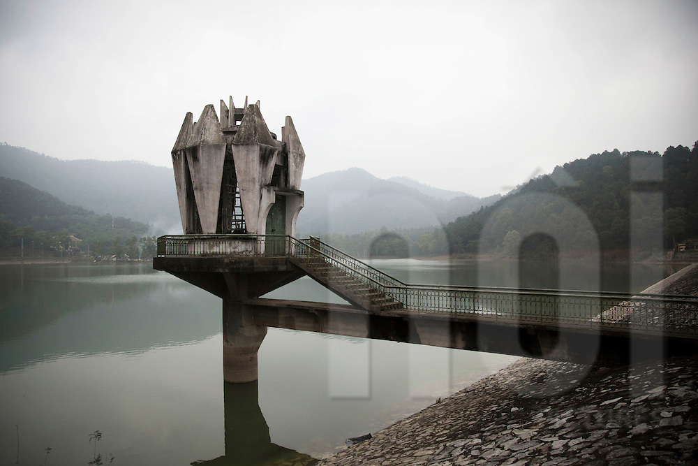 Architectural building constructed over Den Thuong lake, Soc Son area, Vietnam, Asia, 2013