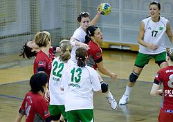 Ana Gros of Olimpija and Andrea Lekic of Krim Mercator  at first finals handball match of Slovenian Women National Championships between RK Olimpija and RK Krim Mercator, on May 16, 2009, in Arena Tivoli, Ljubljana, Slovenia. Olimpija won after 10 years vs Krim Mercator 30:28. (Photo by Vid Ponikvar / Sportida)
