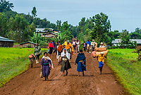 People walking to market, East Gojjam, Amhara region, Ethiopia.