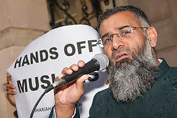 London, 08 November 2013. Muslim radicals led by the controversial cleric Anjem Choudary protest at the Embassy of Burma against what they say is abuse of Muslim groups in Burma by the regime and Bhuddists. Pictured: Anjem Choudary.