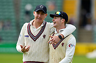 Matt Renshaw of Somerset and Eddie Byrom of Somerset during the Specsavers County Champ Div 1 match between Somerset County Cricket Club and Worcestershire County Cricket Club at the Cooper Associates County Ground, Taunton, United Kingdom on 22 April 2018. Picture by Graham Hunt.