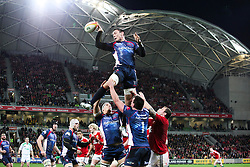 © Licensed to London News Pictures. 25/6/2013. Gareth Delve gets lifted and passes off the ball during the British & irish Lions tour match between Melbourne Rebels Vs British & Irish Lions at AAMI Park, Melbourne, Australia. Photo credit : Asanka Brendon Ratnayake/LNP