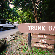 Entrance sign at Trunk Bay, one of the most famous and scenic of St. John's many beautiful, sandy beaches.