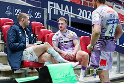 Scotland internationals - A dejected Finn Russell of Racing 92 sits with Stuart Hogg of Exeter Chiefs and Jonny Gray of Exeter Chiefs after the final whistle of the match   - Mandatory by-line: Rogan/JMP - 17/10/2020 - RUGBY - Ashton Gate Stadium - Bristol, England - Exeter Chiefs v Racing 92 - Heineken Champions Cup Final