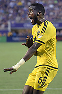 Columbus Crew midfielder Tony Tchani (6) argues for a call from an official during the first half of an MLS soccer match against Orlando City in Orlando, Fla., Saturday, Aug. 1, 2015. Orlando City won 5-2. (AP Photo/Phelan M. Ebenhack)