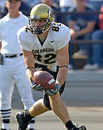 Colorado wide receiver Evan Judge pulls in a 31-yard touchdown pass in the second quarter, to give the Buffs a 20-10 lead over Kansas State.   Colorado defeated K-State 23-20 at KSU Stadium in Manhattan, Kansas, October 29, 2005.