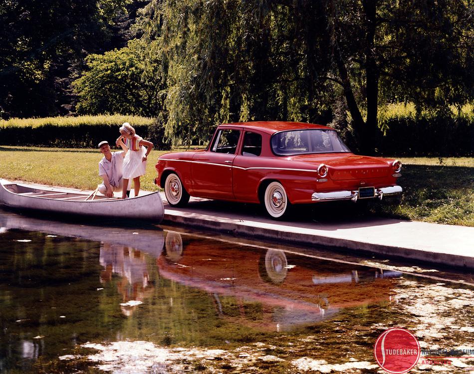 Promotional image for 1963 Studebaker Lark 2-door sedan.