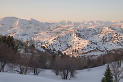 Dusk views from Beldsersay Ski Resort on 25th February 2014 in Uzbekistan.