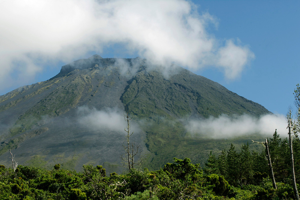 Pico (peak) mountain seen from the entrance of the Natural reserve. Pico is the highest portuguese mountain with 2351m high