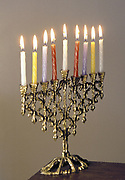 9-branched candelabra used in Judaism at Hannukah .