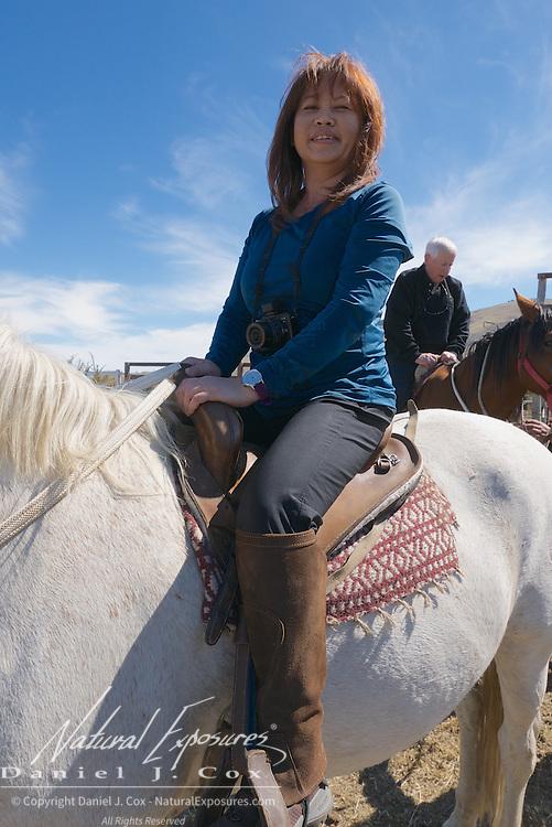 An horseback riding at the ranch in El Calafate, Patagonia, Argentina.