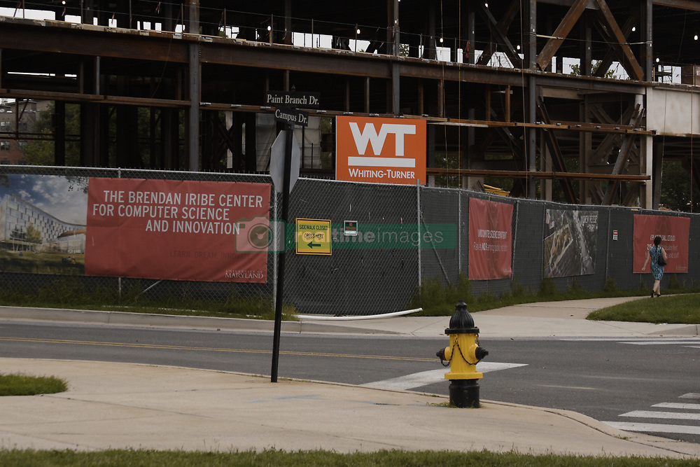 August 3, 2017 - College Park, MD, U.S - The Brendan Iribe Center for Computer Science and Innovation, under construction near the corners of Route 1 and Campus Drive, and Campus Drive and Paint Branch Drive on the University of Maryland campus in College Park, MD...Photo taken from near the intersection of Campus Drive and Paint Branch Drive..Earlier in the day it was reported that a construction worker fell from an upper floor of the building. (Credit Image: © Evan Golub via ZUMA Wire)