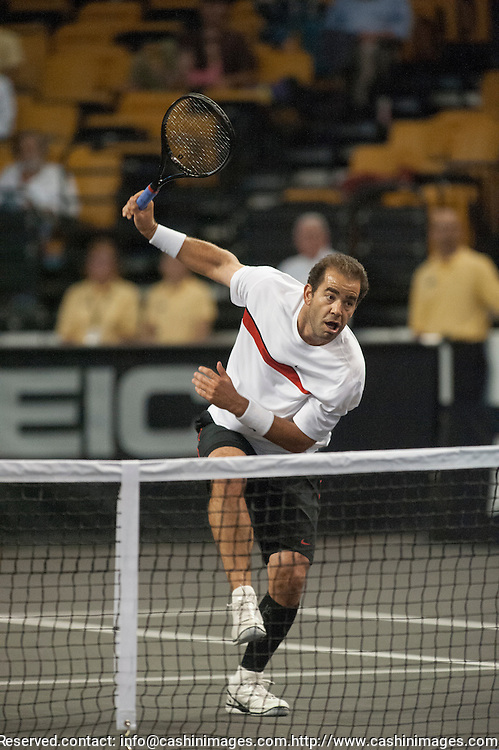 19 October 2012:  Pete Sampras leap and overhead smash during his semi-final match at the Staples Champions Cup at the TD Garden, Boston, MA. Sampras def. Courier, 6-3  ***Editorial Use Only*****
