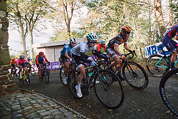 Niamh Fisher-Black (NZL) and Amy Pieters (NED) at the 2020 Gent Wevelgem - Elite Women, a 141.4 km road race from Ieper to Wevelgem, Belgium on October 11, 2020. Photo by Sean Robinson/velofocus.com