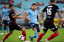 December 15, 2018 - Sydney, NSW, U.S. - SYDNEY, NSW - DECEMBER 15: Sydney FC midfielder Milos Ninkovic (10) gets the ball away at the Hyundai A-League Round 8 soccer match between Western Sydney Wanderers FC and Sydney FC at ANZ Stadium in NSW, Australia on December 15, 2018. (Photo by Speed Media/Icon Sportswire) (Credit Image: © Speed Media/Icon SMI via ZUMA Press)