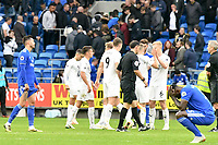 Football - 2018 /2019  Premier League - Cardiff City vs. Burnley<br /> <br /> Cardiff players look dejected after their defeat , at the Cardiff City Stadium<br /> <br /> COLORSPORT/WINSTON BYNORTH