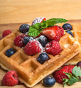 Waffle, strawberries and berries snack