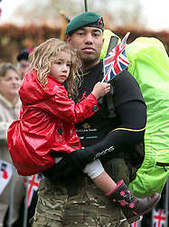 © under license to London News Pictures.  09/11/10 Royal Marines Commando Lance Corporal Ram Patten with Melanie Patten, aged four, at the start of the March For Honour, Lydiard Park, Wiltshire.  The team set off on their set them off on their march to London, to commemorate servicemen and women who have fallen in Iraq and Afghanistan.