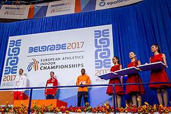 05-03-2017  SRB: European Athletics Championships indoor day 3, Belgrade<br /> Ceremonie Pavel Maslak CZE, Rafal Omelko POL en Liemarvin Bonevacia pakt de bronze medaille op de 400 meter