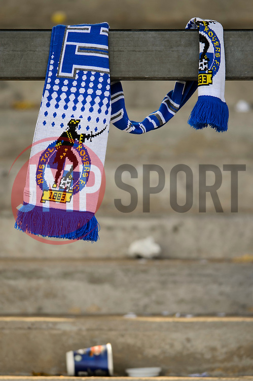 A Bristol Rovers supporters scarf is left behind after a 0-1 loss in the match to confirm their sides relegation from League 2 into the Conference division - Photo mandatory by-line: Rogan Thomson/JMP - 07966 386802 - 03/05/2014 - SPORT - FOOTBALL - Memorial Stadium, Bristol - Bristol Rovers v Mansfield Town - Sky Bet League Two. (Note: Mansfield are wearing a Rovers spare kit having forgotten their own).