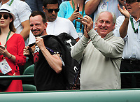 Tennis - 2019 Wimbledon Championships - Week One, Saturday (Day Six)<br /> <br /> Womens singles, 4th Round <br /> Sloane Stephens (USA) v Johanna Konta (GBR)<br /> <br /> Johanna Konta's father Gábor and coach Dimitri Zavialoff , celebrate her win on Court 1<br /> <br /> COLORSPORT/ANDREW COWIE