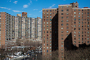 The red brick apartment blocks of The Governor Alfred E. Smith Houses, a public housing development built by the New York City Housing Authority in the Two Bridges neighbourhood of the Lower East Side of Manhattan.  There are 12 buildings in this complex, each 17 stories tall and houses approximately 5,739 people.  (photo by Andrew Aitchison / In pictures via Getty Images)