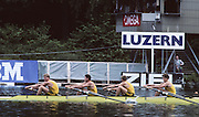 Lucerne, SWITZERLAND. AUS M4- .Andrew COOPER ,  Nick GREEN ,  Mike McKAY , James TOMKINS 1992 FISA World Cup Regatta, Lucerne. Lake Rotsee.  [Mandatory Credit: Peter Spurrier: Intersport Images] 1992 Lucerne International Regatta and World Cup, Switzerland