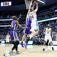 06 March 2017: Denver Nuggets center Mason Plumlee (24) goes for the reverse dunk on Sacramento Kings center Kosta Koufos (41) during the Denver Nuggets 108-96 victory over the Sacramento Kings, at the Pepsi Center, Denver, Colorado, USA.