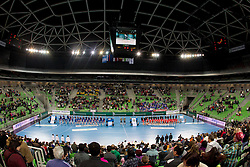 Arena during handball match between RK Krim Mercator and CS Oltchim RM Valcea (ROU) of Women's EHF Champions League 2011/2012, on February 4, 2012 in Arena Stozice, Ljubljana, Slovenia. (Photo By Vid Ponikvar / Sportida.com)