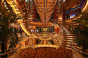 Royal Caribbean International's  Independence of the Seas, the world?s largest cruise ship. ..Interior and exterior features photos...Staircase and glass walkway. *** Local Caption *** Staircase and glass walkway.