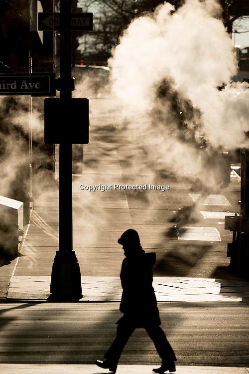 New York, Manhattan in the steam on 42nd street