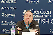 The Aberdeen Asset Management Scottish Open Golf Championship 2012 At Castle Stuart Golf Links..Final Round Saturday 14-07-12.. .                             Press conference on the Future of the Scottish Open,  with First Minster Alex Salmond,  George O' Grady of The European Tour, Martin Gilbert Chief Exec of Aberdeen Asset management and Roger Conrhill of Aberdeen Asset Managent, , during the FinalRound of The Aberdeen Asset Management Scottish Open Golf Championship 2012 At Castle Stuart Golf Links. The event is part of the European Tour Order of Merit and the Race to Dubai....At Castle Stuart Golf Links, Inverness, Scotland...Picture Mark Davison/ ProLens PhotoAgency/ PLPA.Saturday 14th July 2012.