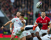 Twickenham, England, 7th March 2020, Ben YOUNGS, kicking clear, at the back of the scrum, during the, Guinness Six Nations, International Rugby, England vs Wales, RFU Stadium, United Kingdom, [Mandatory Credit; Peter SPURRIER/Intersport Images]