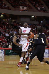 22 December 2009: Tony Lewis muscles his way into the lane against Kevin Loyd. The Tigers of Grambling State are defeated by the Redbirds of Illinois State 80-56 on Doug Collins Court inside Redbird Arena in Normal Illinois.