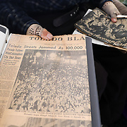 A copy of The Blade from Aug. 15, 1945, V-J Day (Victory over Japan Day), is seen at the Michigan Avenue home of George Snyder, Jr., a 97-year-oldWorld War II veteran, in Maumee, Ohio, on Thursday, Jan. 2, 2020.Snyder survived combat and capture while serving in the Army in the 337th Infantry Regiment, 85th Infantry Division, Company G, in Italy. THE BLADE/KURT STEISS<br /> MAG WWIIVet01<br /> <br /> NOTE: This is one of my favorites from the set.