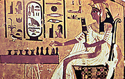 Nefetari, favourite queen of Ramses II (Rameses 1304-12137 BC) seated, playing Senat the Egyptian board game which is forerunner of chess.  Her cartouche is highlighted in white. Wall painting from tomb of Nefetari, Thebes.