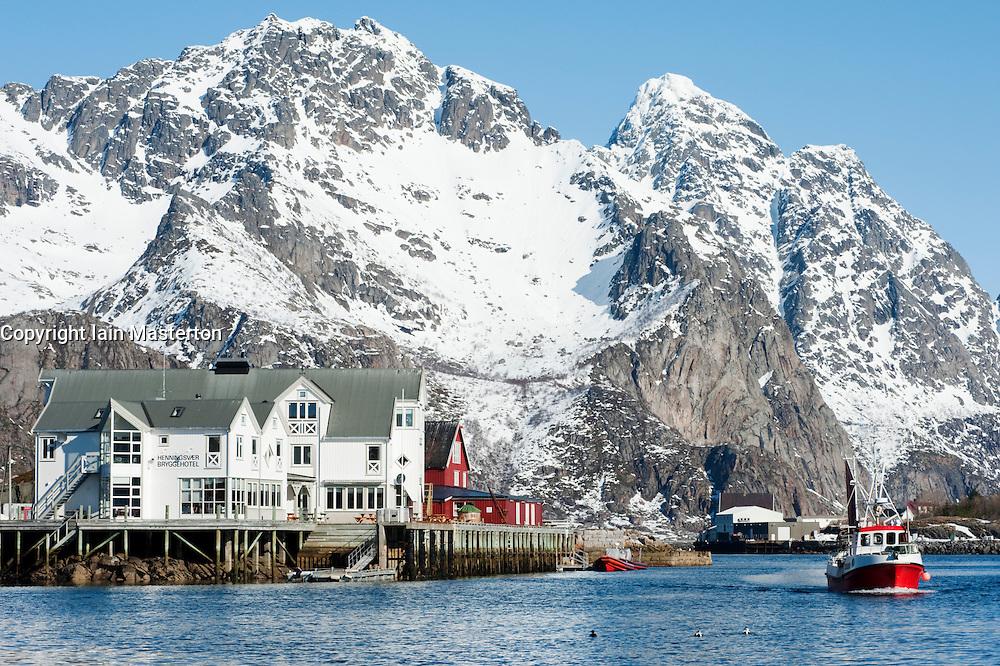 harbour at Henningsvaer on Lofoten Islands in Norway