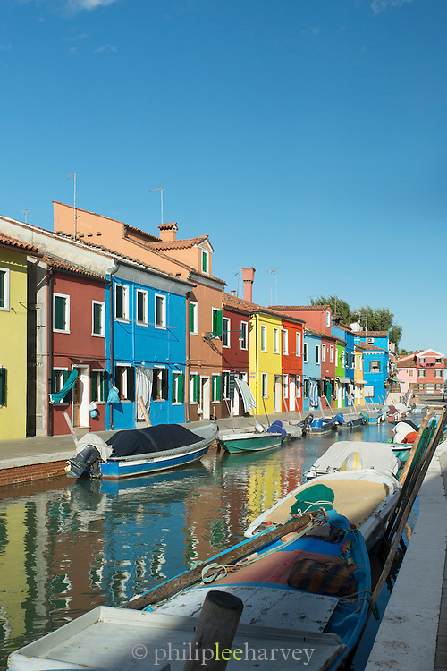 Burano's Canals. Island of Burano, Venice, Italy, Europe