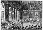 Wilhelm I (1797-1888) King of Prussia from 1861 being proclaimed Emperor of Germany, 1871. After the defeat of France in the Franco-Prussian War of 1870-1871, as a gesture of further humiliation of the French, on 18 January 1871 Wilhlem I was crowned as the first Emperor of Germany in the Hall of Mirrors, Versailles, the palace built by Louis XIV of France.  From 'The Graphic'. (London, 1871). Wood engraving.