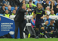 Football - 2017 / 2018 Premier League - Brighton & Hove Albion vs. Everton<br /> <br /> Everton Manager, Ronald Koeman hands out instructions to Nikola Vlasic at The Amex.<br /> <br /> COLORSPORT/ANDREW COWIE