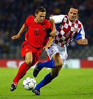 Fotball<br /> EM-kvalifisering<br /> 10.09.2003<br /> Belgia v Kroatia<br /> NORWAY ONLY<br /> Foto: Phot News/Digitalsport<br /> <br /> Thomas Buffel - Belgia<br /> Stjepan Tomas - Kroatia