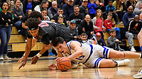 Nolensville Knights Nate Bloedorn (15) during the Nolensville Knights vs East Nashville Sub-State basketball playoff game at Nolensville High Monday, March 4, 2019.  The Knights ended the season with a 71-56 loss.<br /> Photo Harrison McClary/News & Observer