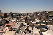 Israel, Jerusalem, A view of the old city from Damascus Gate. The Dome of the Rock in the background