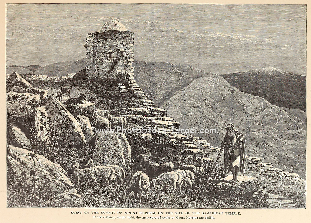 Ruins on the summit of Mount Gerizim, on the site of the Samaritan temple In the distance, on the right, the snow-covered peaks of Mount Hermon are visible. from the book Picturesque Palestine, Sinai, and Egypt By  Colonel Wilson, Charles William, Sir, 1836-1905. Published in New York by D. Appleton and Company in 1881  with engravings in steel and wood from original Drawings by Harry Fenn and J. D. Woodward Volume 1
